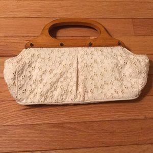 White cotton clutch